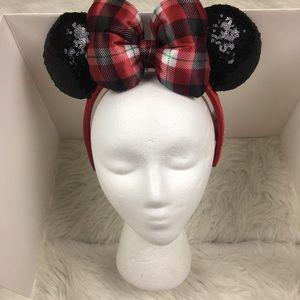 Disney Parks Minnie Mouse Ears Plaid Headband